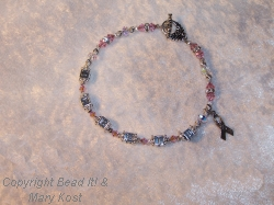"Breast Cancer Awareness Name bracelet - Debbie, with ""Survivor"" charm"