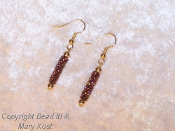 Hand beaded Peyote earrings with 14 kt Gold earwires