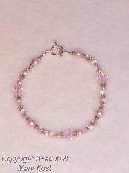 Pink pearl and swarovski Wedding bracelet
