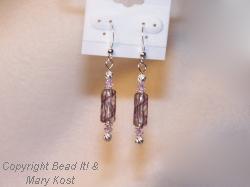 Amethyst hand blown glass beads with Swarovski Austrian crystals