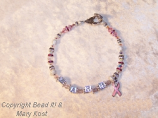 Breast Cancer Awareness Name bracelet - Barb, with enamel pink cancer awareness charm