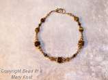 Tiger Eye and Swarovski Austrian crystal in 14kt gold
