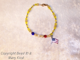 Red, white and blue with  flag charm
