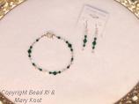 Emerald crystal bracelet, with earrings