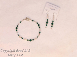 Emerald birthstone bracelet and earring set