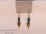 Black/Blue Cloisonne Round earrings