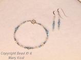 Aquamarine crystal bracelet, with earrings