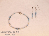 Aquamarine birthstone bracelet and earring set