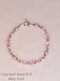 Pink pearl and swarovski Wedding bracelet