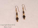 Swarovski  and Black  glass bead dangle earrings