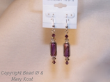 Purple hand blown glass beads with Swarovski Austrian crystals