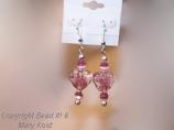 Pink hearts Chinese Lampwork earrings