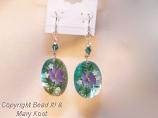 Teal Mother of Pearl Floral earrings