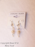 1-Swarovski Austrian Crystal AB and freshwater Pearl Earrings, with .925 sterling silver ear wires