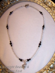 French Horn necklace with Grandmother's crystals