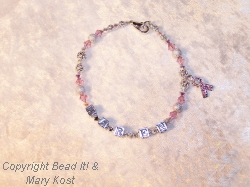 Breast Cancer Awareness Name bracelet - Karen