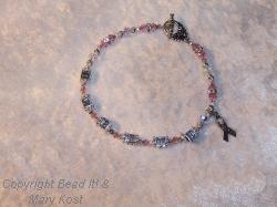 """Breast Cancer Awareness Name bracelet - Debbie, with """"Survivor"""" charm"""
