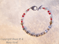 """Badgers""  red/white bracelet-3"