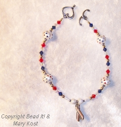 Swarovski Red, White, and Blue, with  awareness ribbon