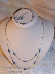 Carribean blue/Swarovski necklace set
