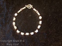"""Go Buckeyes"" crystal and silver bracelet"
