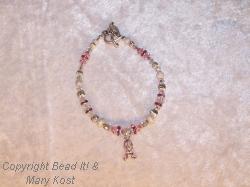 Breast Cancer Awareness bracelet with center Swarovski cancer charm