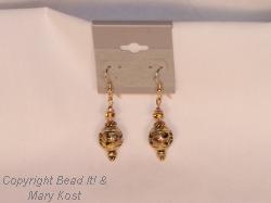Gold cloisonne earrings