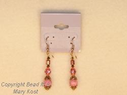Rhodonite gemstone and gold earrings