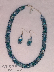 Netted Swarovski necklace and earrings