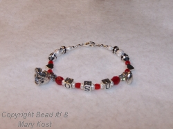 OSU letter bracelet with football,helmet, and hearts