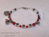 OSU letter bracelet with 4 charms and hearts