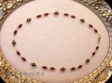 Ohio State Scarlet and Gray pearl illlusion necklace/gold
