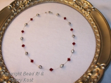 Ohio State Scarlet and Gray pearl illlusion necklace/silver