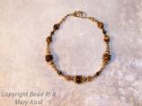 Tiger Eye and Swarovski Austrian crystal in 14kt gold
