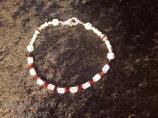 """""""Wisconsin""""  silver football bracelet"""