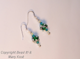 Green and white Party earrings