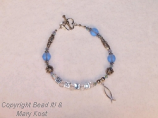 """WWJD"" aquamarine bracelet"
