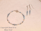 Aquamarine crystal bracelet, with earrings
