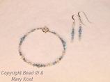 Aquamarine birthstone bracelet and earring set