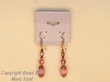 Rhodonite gemstone and gold earrings