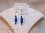 Ocean blue glass bead dangle earrings