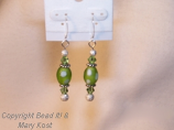 Green Chinese Lampwork earrings