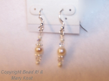 2-Swarovski Austrian Crystal AB and freshwater Pearl Earrings, with .925 sterling silver ear wires