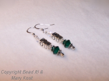 Ohio University drop earrings, with Swarovski Austrian crystal, .925 sterling silver letter beads, accent beads, and ear wires